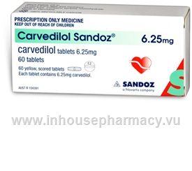 Carvedilol 6.25mg 60 Tablets/Pack