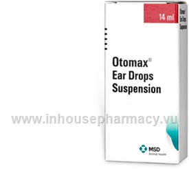 Otomax Ear Drops Suspension (Gentamicin, Betamethasone, Clotrimazole 2640 IU/ml:0.88mg/ml:8.80mg/ml) Ear Suspension 14ml/Pack