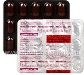 Mesacol OD (Mesalamine (delayed release) 1200mg) 15 Tablets/Strip