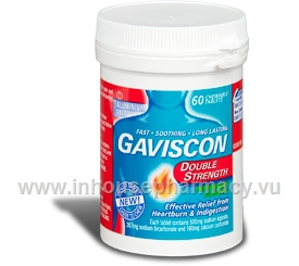 Gaviscon Double Strength 60 Chewable Tablets/Pack