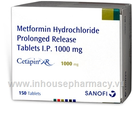 Cetapin XR 1000mg (Metformin) 150 Tablets/Pack