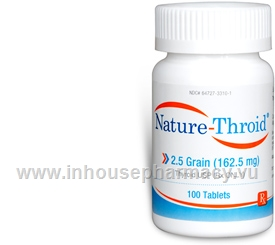 Nature Throid 2 5 Grain 100 Tabs Bottle Levothyroxine T4 And