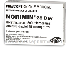 Norimin (Norethisterone (Norethindrone) and Ethinyloestradiol 0.5mg/0.035mg) 84 Tablets/Pack