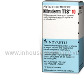 Nitroderm TTS 10 (Nitroglycerin 10mg/24 hour [0.4mg/hour]) 30 Patches/Pack