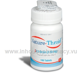 Nature Throid 2 Grain 100 Tabs Bottle Levothyroxine T4 And